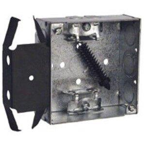 "Hubbell-Raco 229 4"" Square Box, Welded, Metallic, 1-1/2"" Deep, MS Bracket"