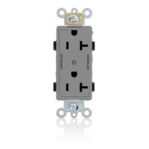 Leviton 16352-2PG 20A Decora Duplex Receptacle, 125V, 5-20R, Grey, Back and Side Wired, 2P Controlled