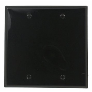 Leviton 80725-E Blank Wallplate, 2-Gang, Nylon, Black, Standard, Box Mount