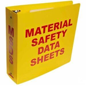 "Brady 2025 Standard MSDS Binder, 3"" Ring, Red on Yellow"