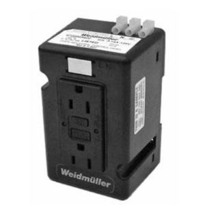 Weidmuller 6720005422 DIN Rail Utility Box, 15A Gray GFCI Receptacle