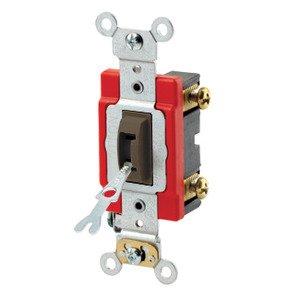 Leviton 1221-2L Single-Pole Locking Toggle Switch, Brown