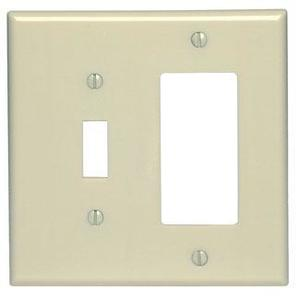 Leviton 80605-I Combo Wallplate, 2-Gang, Toggle/Decora, Thermoset, Ivory, Midway