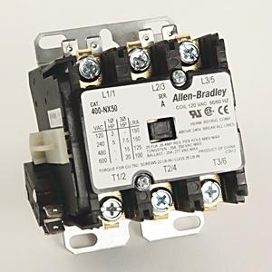 Allen-Bradley 400-NX50 Contactor, Definite Purpose, 25A, 600VAC, 3P, 120V Coil