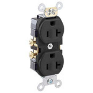 Leviton CR20-E 20A Duplex Receptacle, 125V, 5-20R, Black, Side Wired, Spec Grade