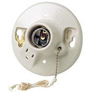 Leviton 9726-C2 Incandescent Lampholder, Medium Base, Pull Chain, White