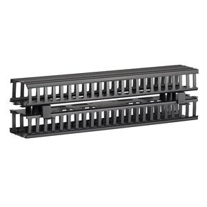 "Leviton 4980L-VFR Vertical Slotted Wiring Duct, 5"" x 4"" x 80"", Front and Rear, Black Cover"