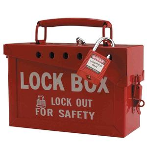 "Brady 65699 13 Lock Portable Metal Lock Box, Red, 6"" x 9"" x 3-1/2"""