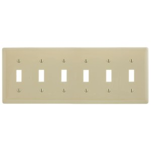 Hubbell-Wiring Kellems NP6I Toggle Switch Wallplate, 6-Gang, Nylon, Ivory, Standard Size