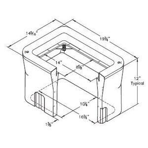 "Oldcastle Precast DUP-N09BOX Pull Box, Underground, 14-5/16"" x 19-3/4"" x 12"", Concrete"