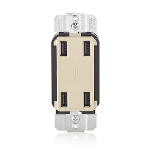 Leviton USB4P-T 4 Port USB Receptacle Device Light Almond