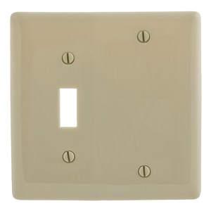 Hubbell-Bryant NP113I Combo Wallplate, 2-Gang, Toggle/Blank, Nylon, Ivory