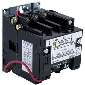 Square D 8502SCO2V02S Contactor, 27A, 600VAC, NEMA Size 1, 120VAC, Coil, 3P, 3PH, 5HP