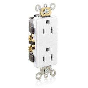 Leviton 16252-W 15A Duplex Receptacle, Decora, White, 125V, Commercial Grade, 5-15R