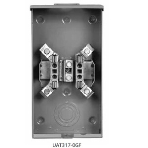 Siemens UAT317-0GF Meter Base, 135A, 1PH, 4 Jaw, OH, RX Hub Opening, Ringless, Steel, 3R