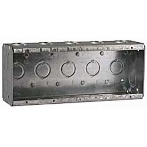 "Hubbell-Raco 694 Masonry Box, 5-Gang, 2-1/2"" Deep, 1/2 & 3/4"" KOs, Steel"