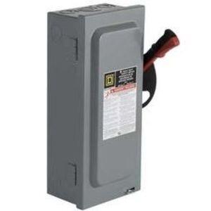 Square D H221N Disconnect Switch, Fused, NEMA 1, 30 Amp, 2-Pole, 240 Volt AC, Neutral