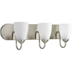 Progress Lighting P2708-09 Bath Light, 3-Light, 100W, Brushed Nickel