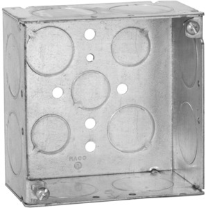 "Hubbell-Raco 233 4"" Square Box, Welded, Metallic, 2-1/8"" Deep, 1"""