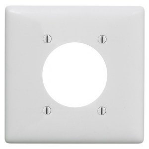 """Hubbell-Bryant NP703W Power Outlet Wallplate, 1-Gang, Nylon, 2.15"""" Hole, White"""
