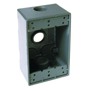 "Hubbell-Raco 5324-0 Weatherproof Outlet Box, 1-Gang, 2"" Deep, (3) 3/4"" Hubs, Die Cast"