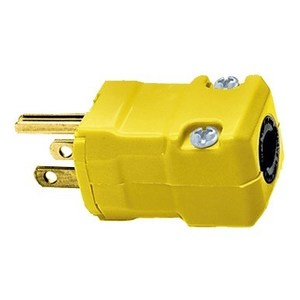 Hubbell-Kellems HBL5965VY 2-Pole 3-Wire Grounding, 15A 125V, 5-15P, Yellow Nylon