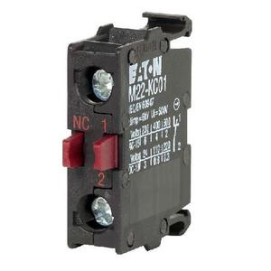 Eaton M22-KC01 Contact Block, 22.5mm, 1NC, Base Mount, M22, 600V Rated