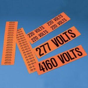 Panduit PCV-277/480CY Voltage Marker, Vinyl, '277/480 VOLTS',