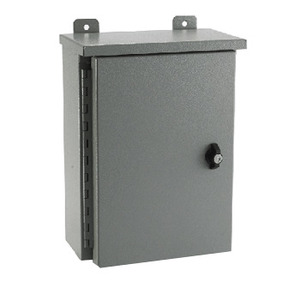 E-Box 363612RE Enclosure, NEMA 3R, Continuous Hinge Cover With Wing Knob, Steel/Gray