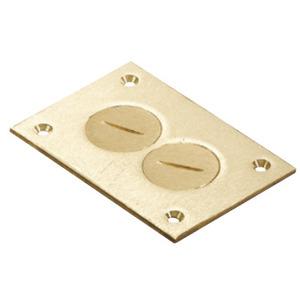 Steel City P-64-DU Rectangular Floor Box Cover, 1-Gang, Duplex, Brass