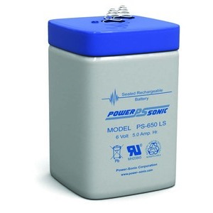 Power-Sonic PS650LF Rechargeable Sealed Lead Acid Battery, 6V, 5Ah