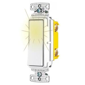 Hubbell-Wiring Kellems RSD115PLW RESI ROCKER SW, SP, 15A 120V, PL WH