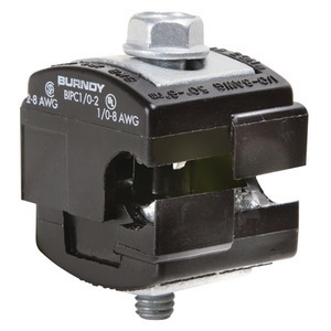 Burndy BIPC1/02 Insulation Piercing Connector, 8 - 1/0 AWG (Run), 8 - 2 AWG (Tap), 600V