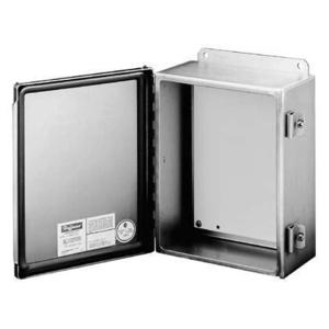 "Hoffman A606CHNFSS Junction Box, NEMA 4X, Hinged Cover, Stainless Steel, 6"" x 6"" x 4"""