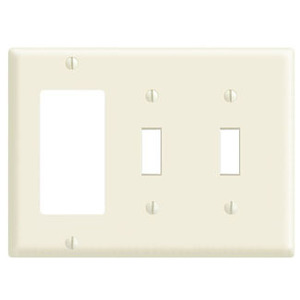 Leviton 80421-I Comb. Wallplate, 3-Gang, (2) Toggle, (1) Decora, Thermoset, Ivory
