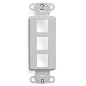 ON-Q WP3413-WH Wallplate Insert, Decora, 3-Port, Empty, White