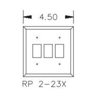 GE RP2-232 Wallplate/RPW Low Voltage Switch, 2-Gang, (3) Switches, Nylon, Ivory