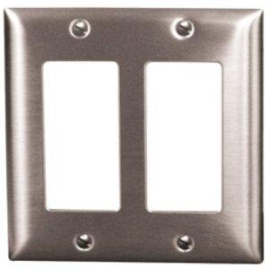 Hubbell-Kellems SS262 Decora Wallplate, 2-Gang, 302 Stainless Steel