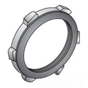 "Appleton LS-500 Locknut, Type Bonded With Gasket, Size 1-1/2"", Raintight, Steel/Zinc"