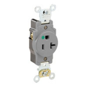 Leviton 8310-GY Hospital Grade Single Receptacle, 20A, 125V, Gray, 5-20R