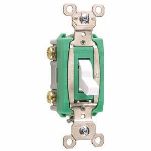Pass & Seymour PS30AC2-W Toggle Switch, 2-Pole, 30A 120/277VAC, White