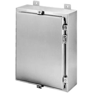 "nVent Hoffman A24H2408SSLP Enclosure, NEMA 4X, Clamp Cover, Stainless Steel, 24"" x 24"" x 8"""
