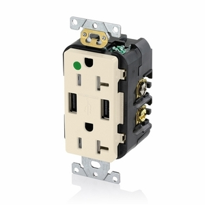T5832-HGT LT ALM COMB DPLX RECPT/USB HG