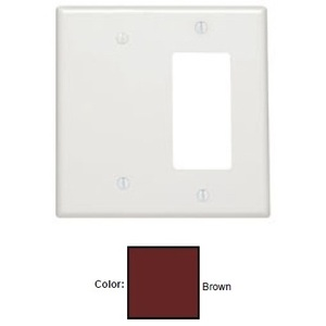 Leviton 80608 Combo Wallplate, 2-Gang, Blank/Decora, Thermoset, Brown, Midway