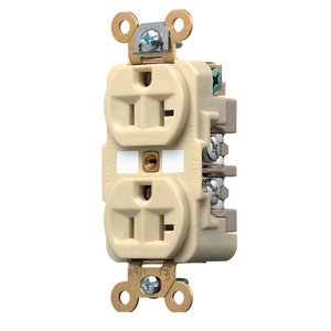Hubbell-Kellems HBL5362I Duplex Receptacle, 20A, 125V, 5-20R, Ivory
