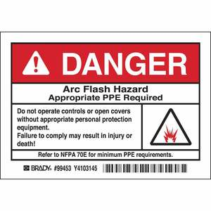 "Brady 99453 Label, Arc Flash Hazard, 3.5"" x 5"""