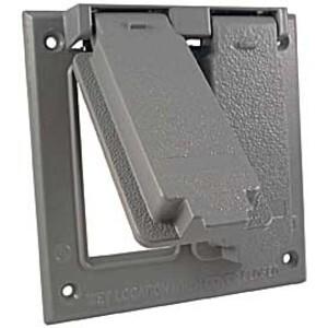 Hubbell-Raco 5145-0 Weatherproof Cover, 2-Gang, Vertical, Type: GFCI, Die Cast