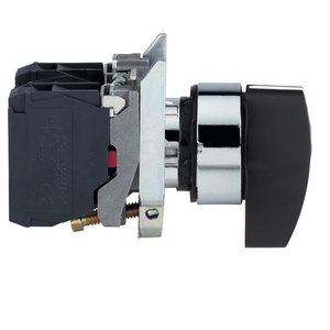 Square D XB4BJ53 Selector Switch, 3 Position, Momentary, Black Lever, 2NO Contacts
