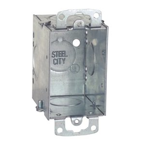"Steel City CW3/4-25 Switch Box, Gangable, 2-3/4"" Deep, Conduit Knockouts, Ears"