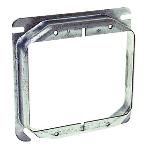 "Hubbell-Raco 779 4"" Square Cover, 2-Device, Mud Ring, 3/4"" Raised, Drawn, Metallic"